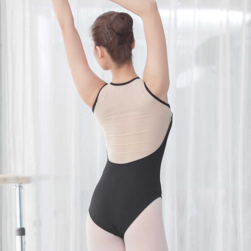 Trykot kobiety baleriny tank mesh trykot zamek z przodu gimnastyczny trykot baletowy dla dorosłych trykot ubrania taneczne baleriny trykot