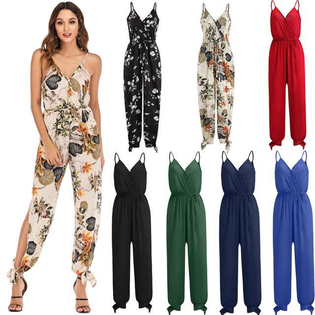 2019 Summer Ladies Suspender Party Jumpsuit&Romper Long Trousers Fashion Women Chiffon Floral Printed Jumpsuit