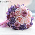 Hot Sale Customized Wedding Bouquet With 18 Pieces Silk Roses Wedding Bridal Flowers Bouquet buque casamento WF054PL