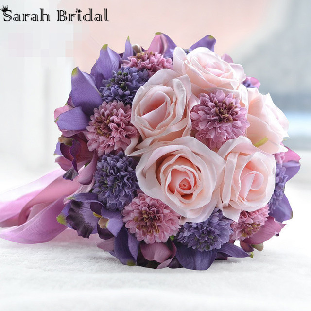 Hot Sale Customized Wedding Bouquet With 18 Pieces Silk Roses Wedding Bridal Flowers Bouquet buque casamento WF054PL