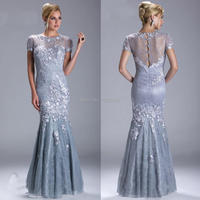 Pearls Beaded Vintage Formal Dress Elegant Mermaid Silver Grey Mother of the Bride Lace Dresses Groom Outfist YNQNFS MD259