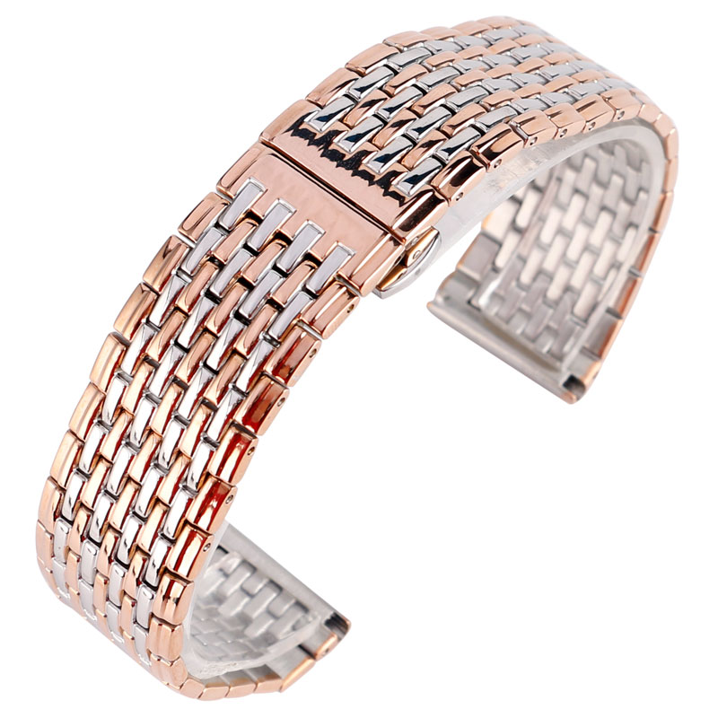 Fashion Rose Gold & Silver 20MM 22MM Width Stainless Steel Watchband for Business Watches with Push Button Hidden Clasp