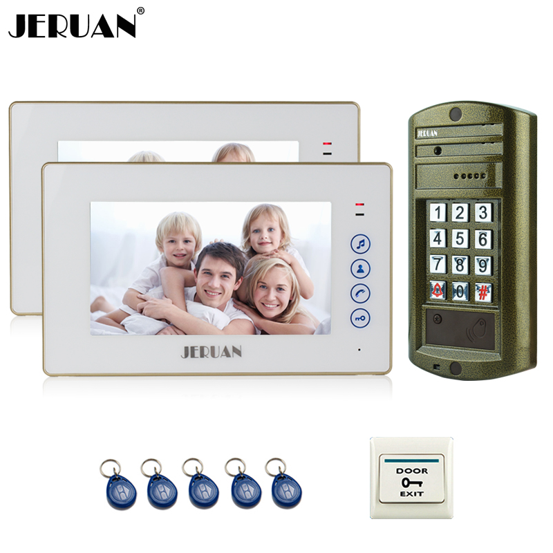 JERUAN 7`` Video Door Phone Intercom System kit 2 Monitor + Metal panel Waterproof Access Password keypad HD Mini Camera 1V2
