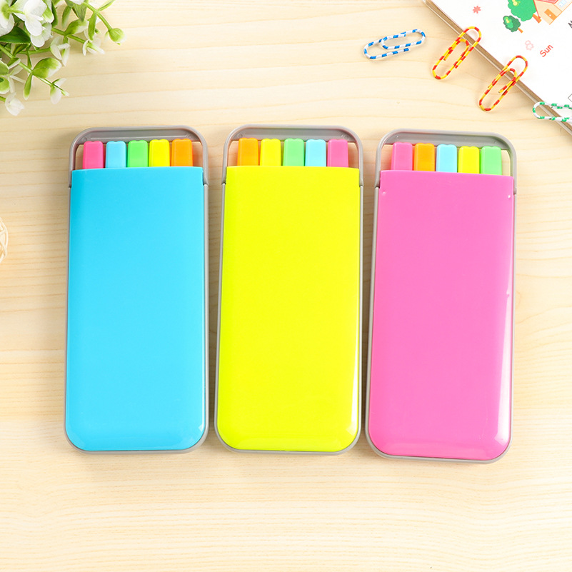 5 Pcs/box Candy Case Color Highlighter Pens Fluorescent Markers For Book Stationery Office Accessories School Supplies F158