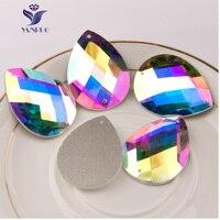 YANRUO Teardrop Glass Sew On Crystal Rhinestones With 2 Holes DIY For Needlework 2151TH