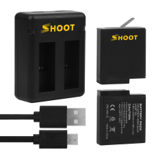 SHOOT 2pcs 1220mAh Battery and Dual Port Battery Charger for GoPro Hero 5 Black Action Camera Go Pro Accessory Set