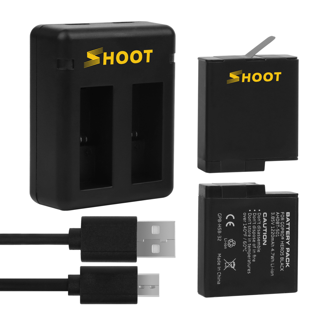 SHOOT Dual Port Charger with 2pcs 1220mAh Battery for GoPro Hero 6 5 Black Sports Cam For Go Pro 6 5 Action Camera Accessory Set