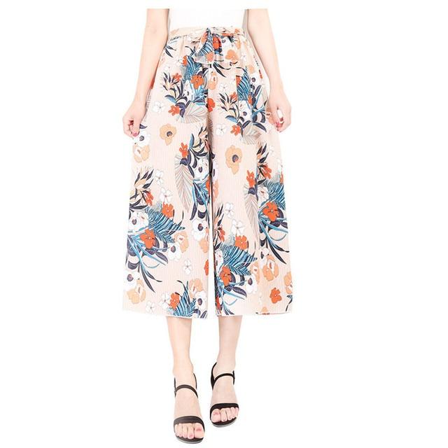 2018 г. летние женские широкие штаны Высокая Талия шифон Для женщин свободные штаны с цветочным принтом укороченные Повседневное до середины икры Длина брюки элегантный