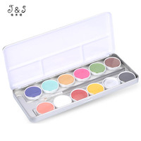 JS 12 Colors Face Oil Painting Halloween Party Fancy Dress Makeup Tools Festival Body Painting Play