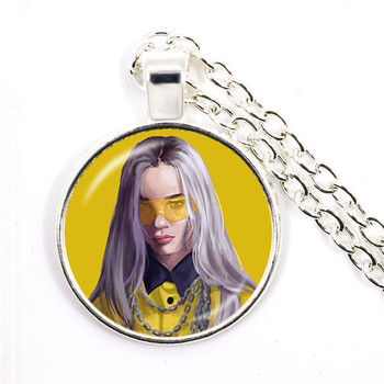 Popular Young Singer Billie Eilish Necklace Art Picture Hip-hop Music 25mm Glass Cabochon Pendant Jewelry For Music Fans Gift 3