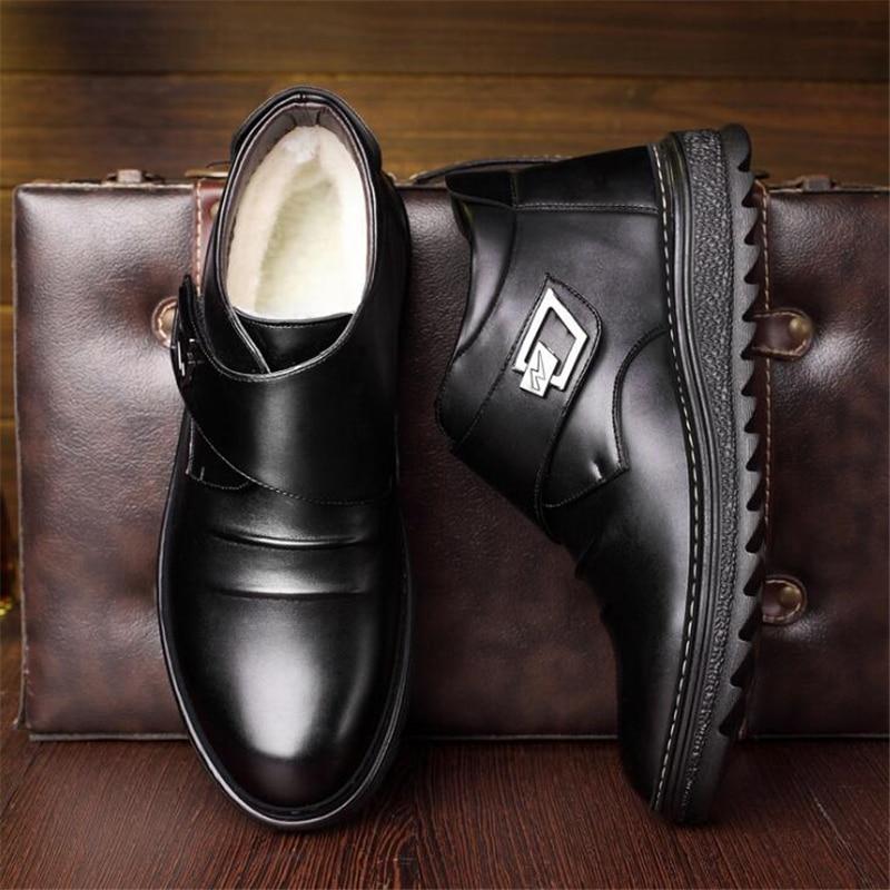 Black Fur De With Dos Inverno Botas 5688 Casuais yellow Fahsion Homens Mens Couro 2019 Quente Sapatos Para Com Fur Neve Tornozelo Manter AUBwqF66