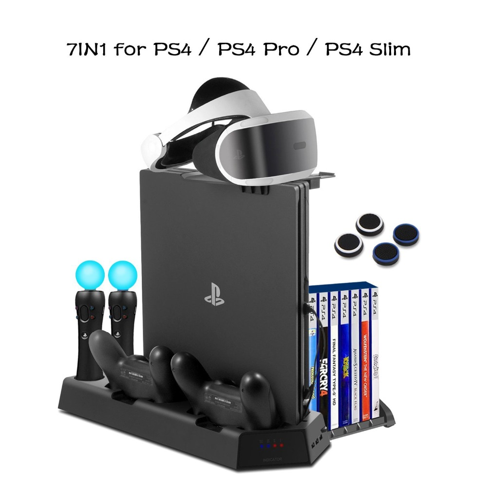 PS4/PS4 slim/PS4 pro PS VR вертикальная подставка вентилятор охлаждения для Игровые приставки 4 с зарядная док-станция для Dualshock 4 шт. двигаться