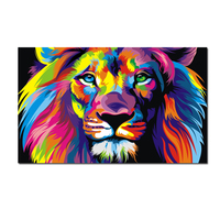 Pop Art HD Print Colorful Lion Animals Abstract Oil Painting on Canvas Modern Wall Art Picture for Kid Room Poster Cudros Decor