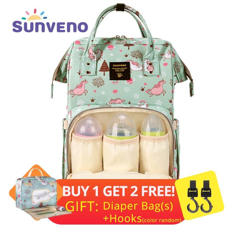 SUNVENO мама пеленки мешок большой Ёмкость детские пеленки мешок дизайнер кормящих сумка рюкзак путешествия Baby Care Мешок для матери малыш