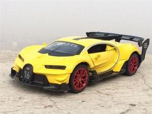 Image 4 - Coche electrónico Bugatti Veyron escala 1:32 de aleación fundida, juguete de modelo de coche, con luz de tracción trasera, juguetes para niños, regalo, envío gratis
