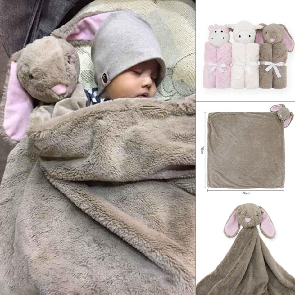 Kavkas Crocheted Baby Blankets Bed Newborn Swaddling Crochet Photography Fleece Polyester Rabbit For Beds Super Soft