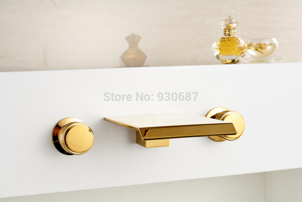 Gold Polish Bathroom Wall Mount Dual Handle Mixer Faucet Waterfall Tub Tap european gold polish
