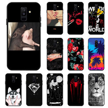 Ojeleye Fashion Black Silicon Case For Samsung Galaxy A6 Plus Cases Anti-knock Phone Cover 2018 Covers