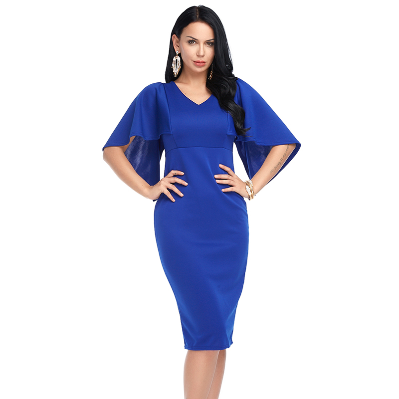Women Sexy Bodycon Dress Summer Plus Size V neck Vintage Flare Sleeve Midi Dresses Ladies Vestidos Black White Spring Fashion