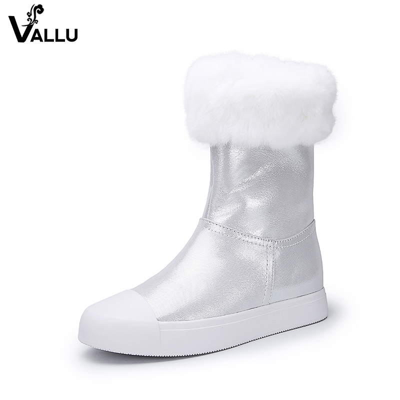VALLU Women Snow Boots Genuine Leather Mixed Color Natural Fur Mid Calf Women Warm Boots fashionable women s mid calf boots with solid color and faux fur design