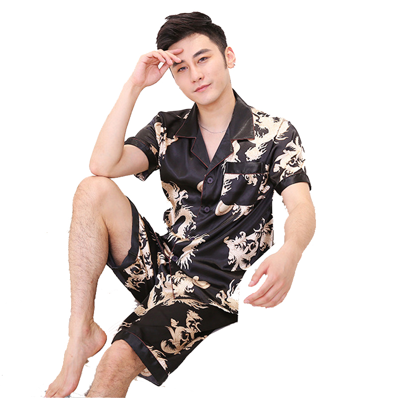 2018 Summer New Men's 2PCS Short Sleeve&Short Pant Pyjamas Set Chinese Vintage Print Dragon Nightwear Size L XL XXL  D128-016
