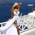 Sexy Simple Spagetti Strap Low Cut High Slit Long Chiffon Beach Wedding Dress Bridal Gown Free Shipping HS239