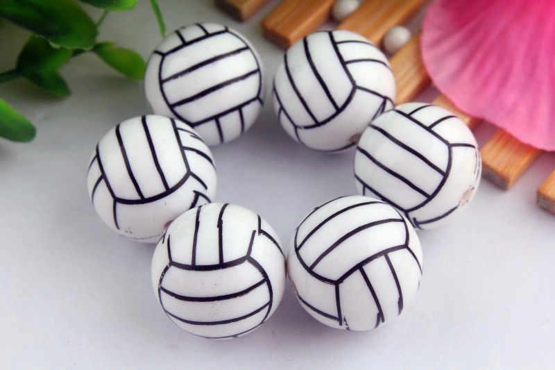 Kwoi Vita Mode 100 stks/partij 20mm chunky white solid print volleybal Kralen voor Chunky Ketting Sieraden