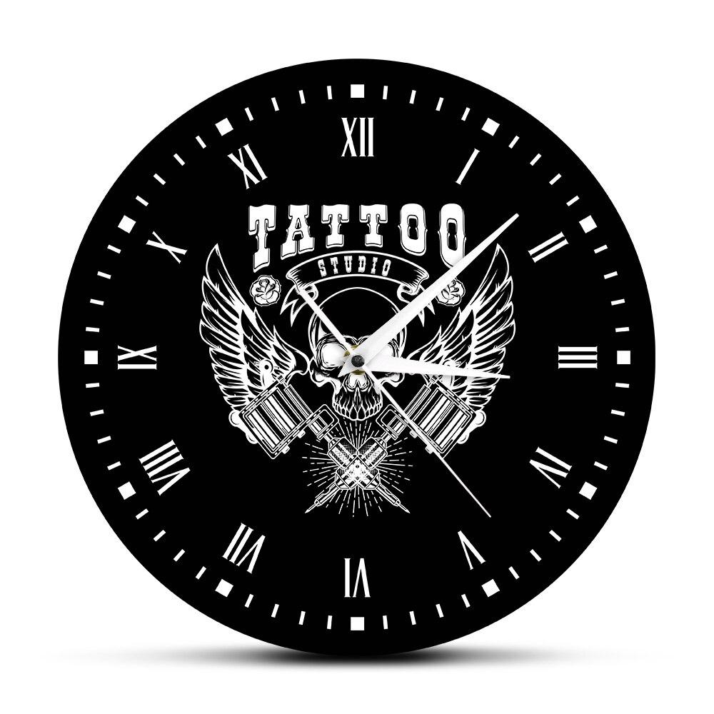 Old School Art Tattoo Studio Modern Wall Clock Skull And Tribal Clock Watch Salon Shop Tattoo Studio Decoration Tattooist Gift