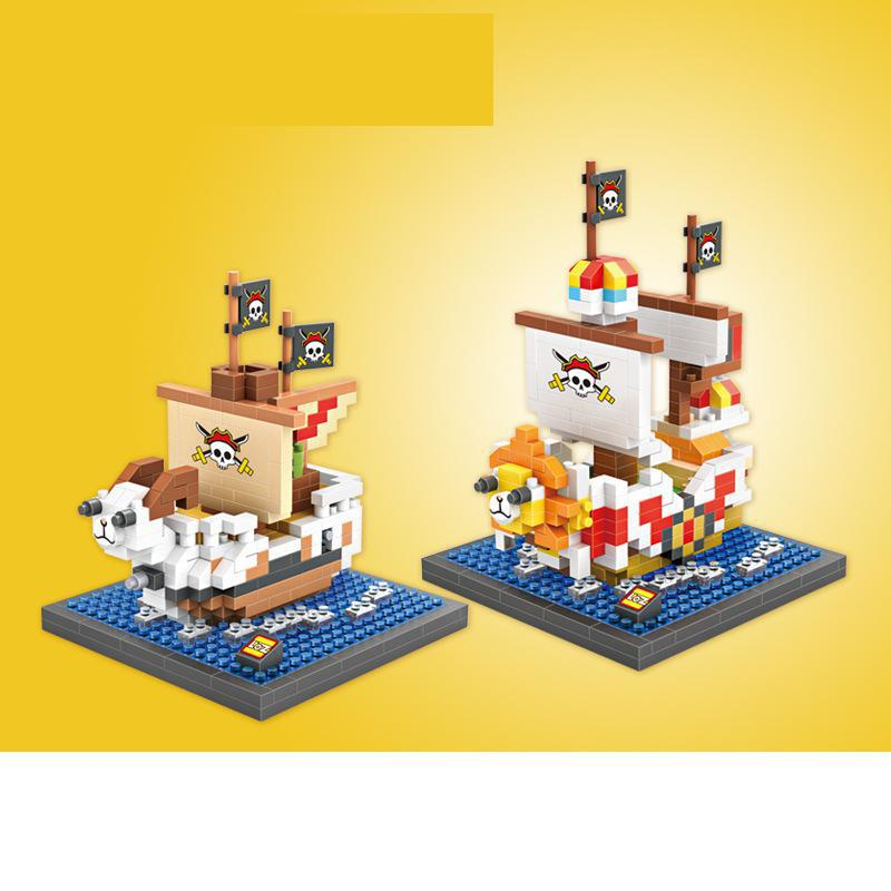 One Piece Building Blocks Going Merry Pirate Ship Sunny Ship Bricks Figure Assembly mini Blocks Set Toys 9828 9829