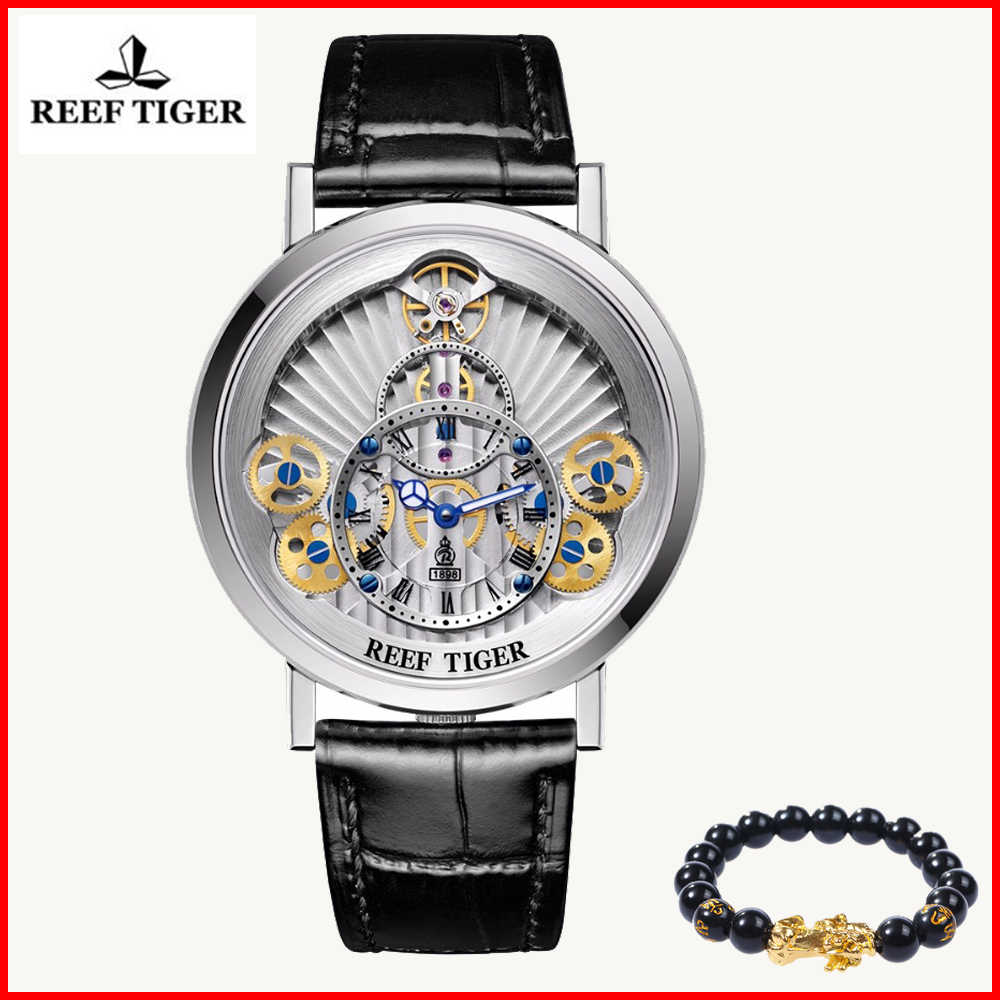 2019 Reef Tiger Luxury Brand Hollow Watches Mens Steel Gear Wheel Dial Leather Quartz Waterproof Fashion Watch Relogio Masculino