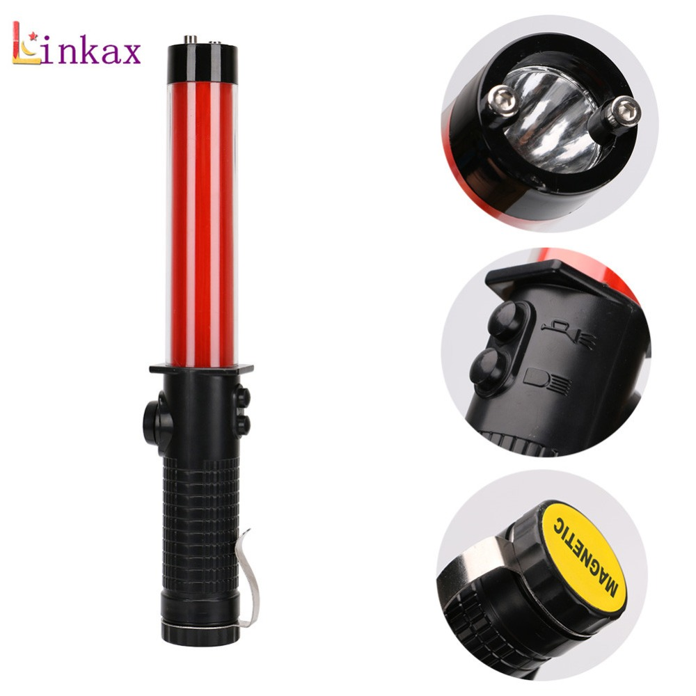 Traffic Safety Flashlight Powerful LED Lamp Torch Lantern Traffic Police Equipment Lamp By <font><b>3</b></font> X AA Battery Red Baton Light image