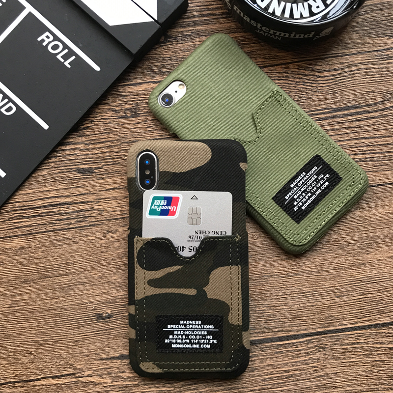 Phone Wallet Case Credit ID Card denim cover case for iphone 6 6Plus 7 7 plus 8 8Plus X Camouflage military style phone cases
