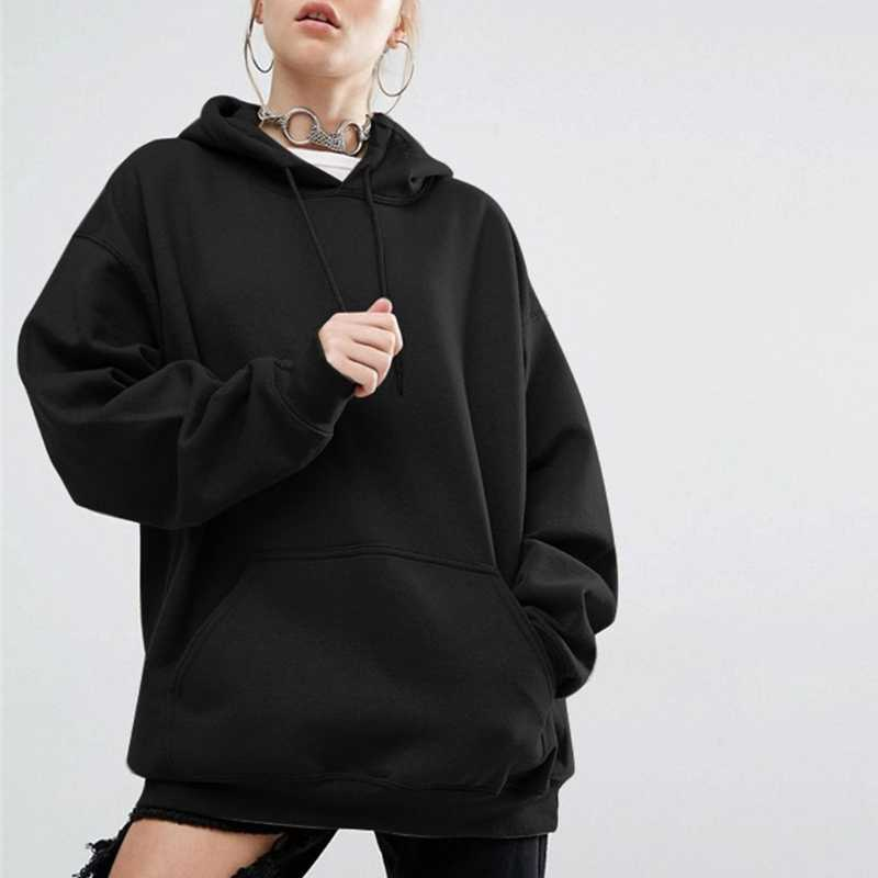 Womens Oversize Hoodie Sweatshirt Casual Solid Color Outwear Cotton Loose Long Bat Sleeves Pullover Plus Size