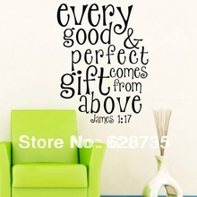 "Bible Verses Wall Decals  ""Every Good&Perfect Gift Comes From Above""- James Quotes Vinyl Wall Sticker For Home living Room Decor"