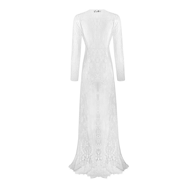 Woman Maternity Sexy Deep V Neck Glamour Hollow Lace Long Maxi Dress
