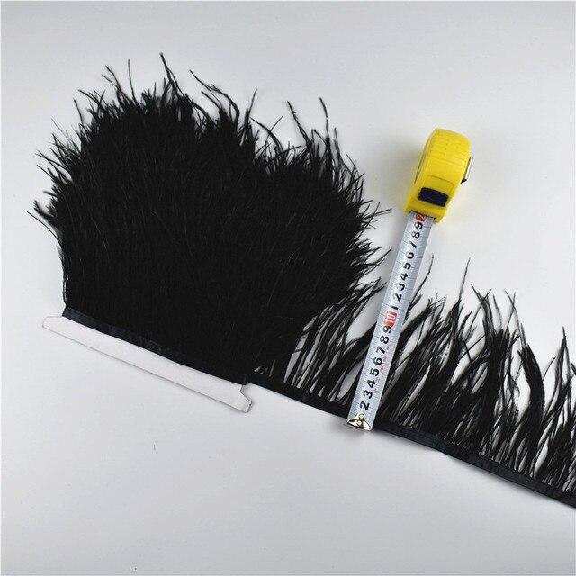 1 metro de 10-15CM de color pluma de avestruz real adornos de franja falda cinta para vestido de plumas para manualidades plumas accesorios de vestir