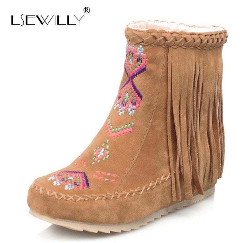 Lsewilly/зимние женские замшевые ботильоны на плоской подошве; комфортная обувь; женские ботинки с кисточками; Sapatos femininos; AA560