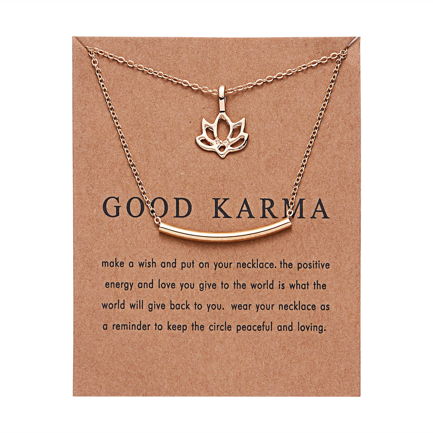 Rinhoo Double Layer Buddha Lotus Balance Tube Bar Necklace gold lotus pendant necklace with card charm jewelry gift For women image