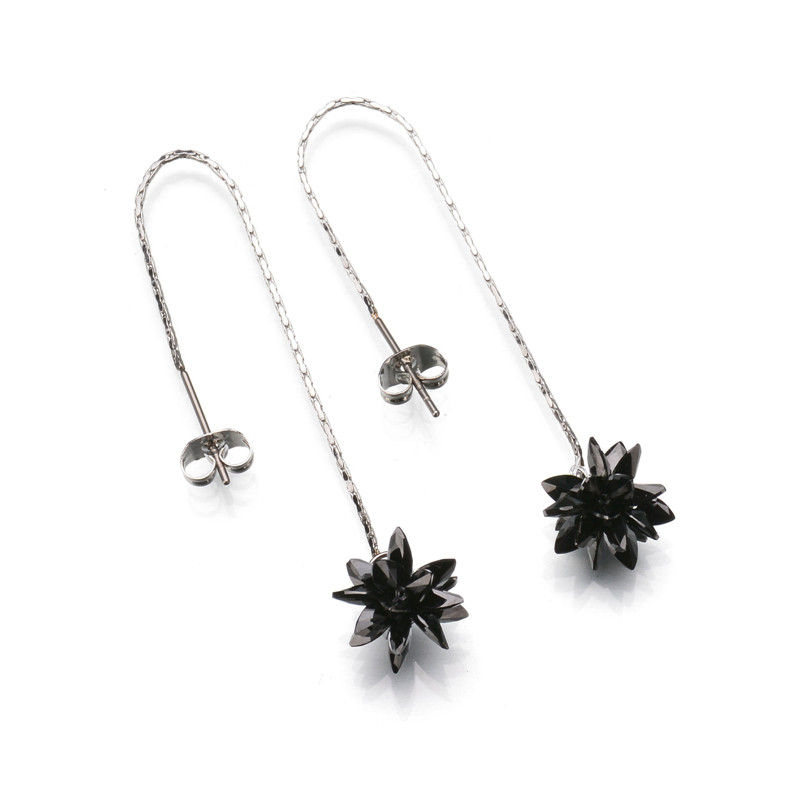 New Arrival Black Ice Flower Earrings 316l Stainless Steel Austrian Crystal Drop Chain For Gift Hand Make In From Jewelry
