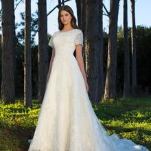 Cecelle 2019 Long A-line Wedding Dresses With Short Sleeves