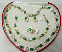 Women's gift Jewelry WGP word Natural Fine wind Beautiful Popular jewelry Green stone Necklace Bracelet Ring Earring Set