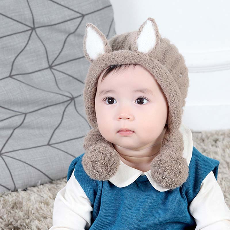 Winter Warm Baby Hat Cute Rabbit Ears Thicken Knitted Beanie Cap For Kids With Double Pompom Girls Boy Casual Outdoor Bonnet Hat(China)
