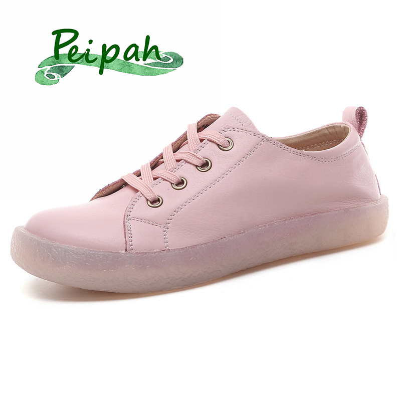 PEIPAH Top Quality Handmade Women Oxfords Shoes Genuine Leather Spring Casual Cow Leather Flats Oxfords Shoes