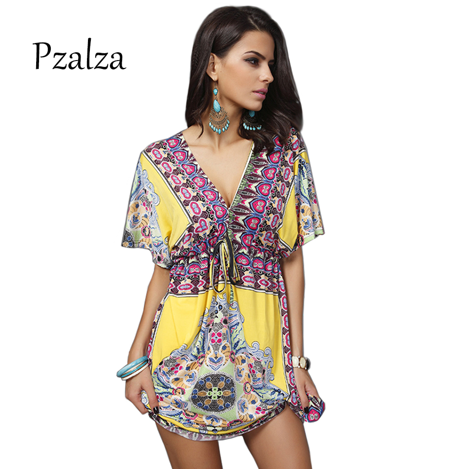 Pzalza New Sexy Deep V Neck Dress India Ethnic Floral Print Women Summer Beach Dress Casual Loose Bohemian Sundresses Female