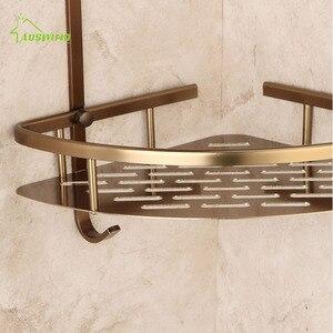 Античная бронзовая двухслойная угловая полка, серебристая, с щеткой, алюминиевые аксессуары для ванной комнаты