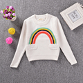 Autumn Winter INS  Hot Sale Unisex Toddler Kids Knitted Long Sleeve O-neck Cartoon Rainbow Decor Lovely White Cotton Sweaters