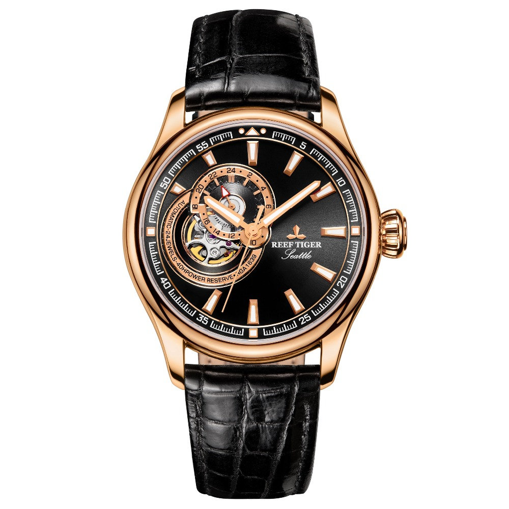 Reef Tiger/RT Mens Watch Top Brand Luxury Tourbillon Watches Genuine Leather Strap Rose Gold Watches Relogio Masculino RGA1639Reef Tiger/RT Mens Watch Top Brand Luxury Tourbillon Watches Genuine Leather Strap Rose Gold Watches Relogio Masculino RGA1639
