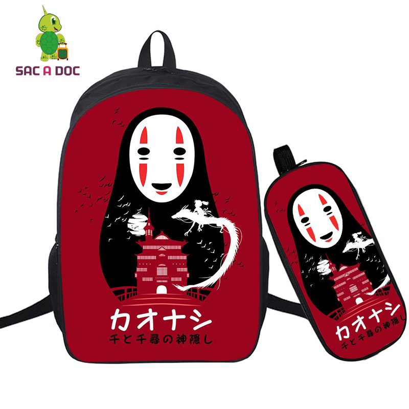16 INCH <font><b>Spirited</b></font> <font><b>Away</b></font> Teenage <font><b>BACKPACK</b></font> SCHOOL BAG+PENCIL BAG FOR BOYS GIRLS TRAVEL SHOULDER BAGS NO FACE MAN BAGPACK SAC A DOS image