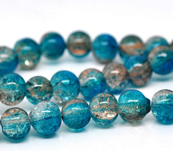 "DoreenBeads Glass Loose Beads Round Mixed Crackle About 8mm Dia,Hole: Approx 1mm,82cm(32 2/8""),1 Strand(Approx 105 PCs/Strand)"