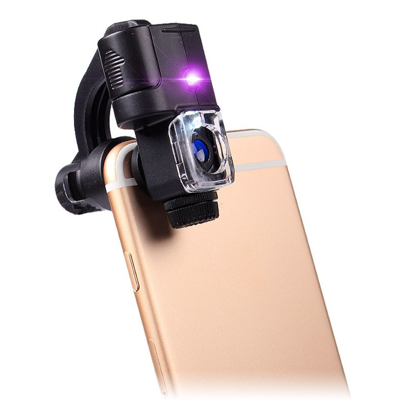 Universal Portable 90X LED Light Illuminant Identification Magnifier UV Light Loupe Pocket Clip Microscope for Smart Phone